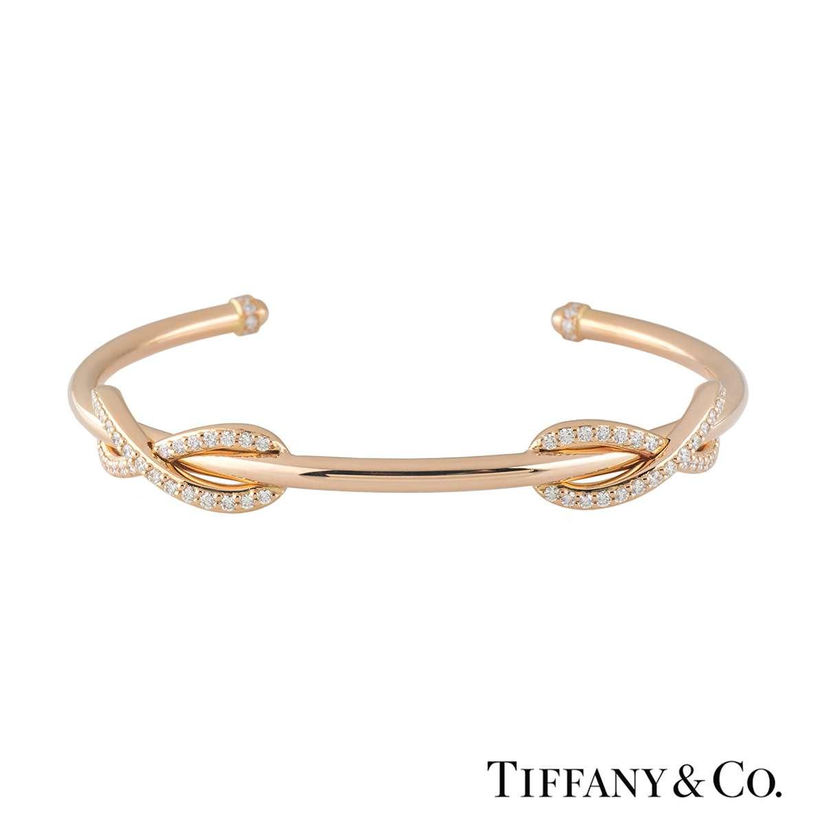 Tiffany & Co. Rose Gold Diamond Double Infinity Cuff Bangle